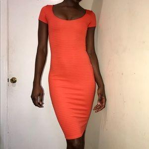 Orange Maxi Bodycon Dress